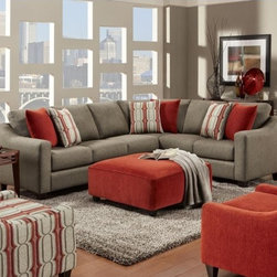 "Fusion Furniture Gunpowder Gray Contemporary 2 Piece Corner Sectional - The motto of Fusion Furniture is: ""Where Style Meets Value""... and that is a total understatement.  A mid century sectional in a modern color pallet can make a room really pop."