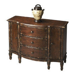 Butler Specialty - Butler Console Cabinet - Offering abundant storage behind two doors and inside three dovetailed drawers, this spacious console cabinet is crafted from poplar hardwood solids, wood products and choice cherry veneers. The aged patina of the Tobacco Leaf gives the piece a vintage feel.