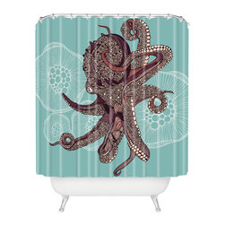 DENY Designs - Valentina Ramos Octopus Bloom Shower Curtain - Who says bathrooms can't be fun? To get the most bang for your buck, start with an artistic, inventive shower curtain. We've got endless options that will really make your bathroom pop. Heck, your guests may start spending a little extra time in there because of it!