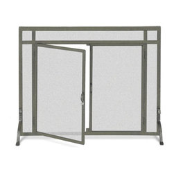 Fireside Distributors - Flat Fireplace Screen w Doors in Iron Finish (39 in. Width) - Choose Size: 39 in. Width. Contemporary free-standing fireplace screen allows you to keep your screen in place while still having access to add logs or stoke the flames.  Durable metal frame mesh screen features a classic vintage iron finish and is available in your choice of two sizes. These fully operable door screens feature a straight top door. Allow 0.13 in. tolerance due to hand forging. Screen sizes listed are for actual framed mesh area and do not include feet or decorative finials. Vintage iron finish. 39 in. W x 31 in. H (40 lbs.)