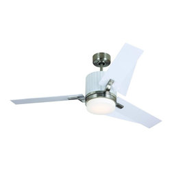 "Monte Carlo - Monte Carlo 52"" Ken- Brushed Steel Finish with White ABS Blades - 3KNR52BSD/ABS - Ceiling Fans: Monte Carlo 52"" Ken- Brushed Steel Finish with White ABS Blades - 3KNR52BSD/ABS"