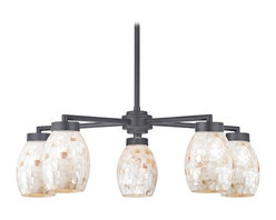 Design Classics Lighting - Mosaic Glass Chandelier with Five Lights and Oblong Shades - 590-07 GL1034 - Country / cottage matte black 5-light chandelier with oblong glass shades. Includes one 6-inch and three 12-inch down rods that allow this chandelier to hang at a minimum height of 18-inches up to a maximum of 54-inches. Takes (5) 100-watt incandescent A19 bulb(s). Bulb(s) sold separately. UL listed. Dry location rated.