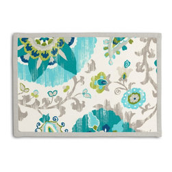 Aqua Suzani Tailored Placemat Set - Class up your table's act with a set of Tailored Placemats finished with a contemporary contrast border. So pretty you'll want to leave them out well beyond dinner time! We love it in this eclectic blue & aqua outdoor print where suzani meets sunshine.