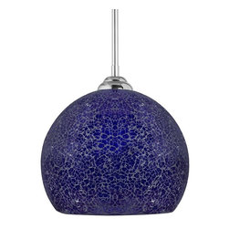 Linea di Liara - Nicola Large Round One-Light Stem Hung Pendant Lamp, Cobalt Blue - Dazzling crackled glass and sparkling illumination define the pendants of the Nicola Collection. Handmade art glass and sleek chrome make Nicola pendants the centerpiece of any room.
