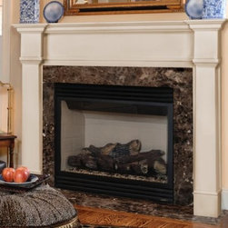 Pearl Mantels Richmond Wood Fireplace Mantel Surround - The Pearl Mantels Richmond Wood Fireplace Mantel Surround features a transitional design to complement any decor, from classic to contemporary. Plinth columns and a clean-lined pediment will create a handsome frame around any fireplace. This fireplace surround offers durability at an affordable price. It ships primed and ready to paint, so you can easily customize the appearance of your fireplace. Mantel Surround Dimensions 48-in. 56-in. A. Shelf length 70.5 in. 78.5 in. B. Interior width 48 in 56 in. C. Interior height 42 in 42 in. D. Width to outside leg at base 65 in. 73 in. E. Overall height 57.25 in. 57.25 in. F. Shelf depth 8 in. 8 in. G. Leg Depth 4.5 in. 4.5 in. About the Pearl InlayPearl Mantels now include a discrete, authentic pearl-style inlay on each of their pieces. Your Pearl Mantel may or may not include this feature, depending on purchase date. Please contact our Customer Care Center with any questions. About Pearl Mantels Inc. Pearl Mantels Inc. believes in business based on honest value, quality products, and personal service - even contacting clients directly to evaluate their needs and develop leading-edge solutions. Pearl also believes mantels are the emotional core of rooms, representing heritage and tradition and displaying precious heirlooms. Each Pearl mantel boasts exclusive detail and classic design, all at an affordable price. Plus a variety of finish options ensures Pearl Mantels Inc. indeed has a mantel for every hearth. Wood and MDF are combustible. Please review heat clearance specifications before installation. Consult your local building codes and manufacturer information regarding your specific insert or stove.