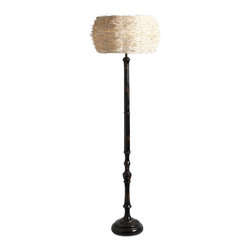 ParrotUncle - Vintage Black Finish Wood Candle Floor Lamp With Bamboo Shade - Wooden carved base with black painting finish makes this floor lamp vintage. But the bamboo filament shade will give you an impression. Yellow light shines from the off white bamboo shade will inspire you.