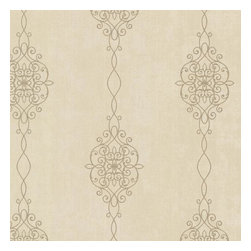 Brewster Home Fashions - Alvina Brass Ironwork Stripe Wallpaper Bolt - The warmth of brass and the glamour of gold are the captivating palette for this intricately lined filigree stripe wallpaper. Like jewelry for your walls this design adds shimmer and delight with swirls worthy of an Arabesque princess.
