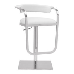 Lemoderno - Fine Mod Imports  Barb Bar Stool, White - The Barb Stool is a swivel chair with a polished steel frame base. The stool is height adjustable. Adjustable Height Swivel Stool Soft seat cushion  Assembly Required