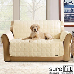 Sure Fit - Soft Suede Cream Waterproof Sofa Protector - This decorator-quality throw is streamlined, stylish, and waterproof. With specially bound seaming to prevent leakage and a waterproof laminated backing, it discreetly protects furniture from spills and accidents.