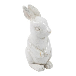 Zentique - Rabbit - Small - Add a bit of whimsy to your home or garden with an adorable ceramic rabbit. Pick from a small or large size and find the perfect spot for this bunny to sit. He'd be equally at home on a country-style kitchen counter or perched among the flowers on your front porch.