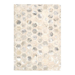 """Michael Amini - Michael Amini Ma01 City Chic MA100 5'3"""" x 7'5"""" Snow Area Rug 20959 - Michael Amini's international style expresses itself in the urbane sophistication of this City Chic rug. Sensual and textural in natural hair hide, it combines an exciting combination of finishes, from matte to metallic, in a harmonious tonal palette of gleaming Snow. An artistic touch for the modern home."""