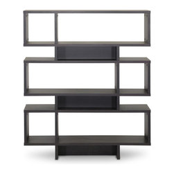 """Baxton Studio - Baxton Studio Cassidy 6-Level Dark Brown Modern Bookshelf - Inject a boost of dazzling contemporary interior fashion into your living space: our Cassidy Designer Bookshelf is a sculptural, eye-catching piece sourced from Malaysian craftsmen. Made with smooth dark brown faux(Espresso) wood grain paper veneer, the Cassidy Display Shelf features an engineered wood frame built with six levels, five of which can be used for display of your decor collection. Dusting with a dry cloth is recommended for cleaning of this unit. A 4-level and 8-level option of the Cassidy Shelf are also available (each sold separately). Assembly is required. 44""""W x 11.375""""D x 52.6""""H, shelf(bigger): 31.25""""W x 11.375""""D x 10.68""""H, shelf (smaller): 9.875""""W x 11.375""""D x 10.68""""H"""