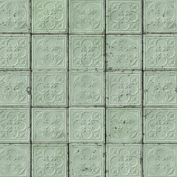 Tin TIN-05 Wallpaper - Have you ever heard of tin ceiling tile wallpaper? It will give you the look of authentic tiles, but comes in rolls that you can easily adhere to walls or ceilings. This minty color is my favorite.