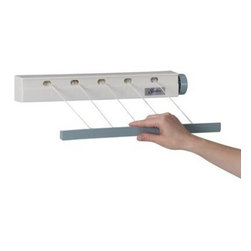 Household Essentials - 5-Line Retractable Mini Clothes Dryer, White - Our 5-Line Retractable Mini Clothes Dryer is an economical way to dry lightweight laundry. The 5-line retractable clothesline is molded form high impact plastic and it's casing is easy to clean. A tension control knob keeps the lines taut and the easy retracting mechanism keeps lines tangle free. Perfect for both indoor and outdoor use.