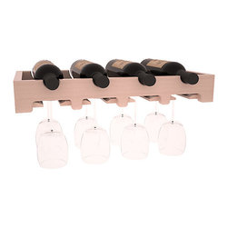 "4 Bottle Scalloped Stemware Wine Rack in Redwood with White Wash Stain + Satin F - This rock solid stemware rack installs between our modular wine cellar kits. A 20"" span for hanging crystal or cellar decor. Designed to be installed over Wine Racks America's 48 Bottle Cube Collection, this rack is sure to please. Your satisfaction is guaranteed."