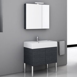Nameeks - Nameeks | Smile Iotti Vanity Set SM03 - Made in Italy. A part of Iotti by Nameek's.The luxurious look of the Smile Iotti Vanity Set SM03 instantly upgrades mundane bathrooms. This all-inclusive set includes a large floor-standing vanity with optimal storage, a mirrored cabinet with accent colors that match the vanity, an above mirror light, and a thick fitted sink. The two door medicine cabinet discretely holds medication and toiletries within arm's reach. The porcelain sink is both striking and durable while proving to be easy to maintain. Product Features: