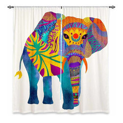 """DiaNoche Designs - Window Curtains Unlined - Pom Graphic Design Whimsical Elephant I - DiaNoche Designs works with artists from around the world to print their stunning works to many unique home decor items.  Purchasing window curtains just got easier and better! Create a designer look to any of your living spaces with our decorative and unique """"Unlined Window Curtains."""" Perfect for the living room, dining room or bedroom, these artistic curtains are an easy and inexpensive way to add color and style when decorating your home.  The art is printed to a polyester fabric that softly filters outside light and creates a privacy barrier.  Watch the art brighten in the sunlight!  Each package includes two easy-to-hang, 3 inch diameter pole-pocket curtain panels.  The width listed is the total measurement of the two panels.  Curtain rod sold separately. Easy care, machine wash cold, tumble dry low, iron low if needed.  Printed in the USA."""