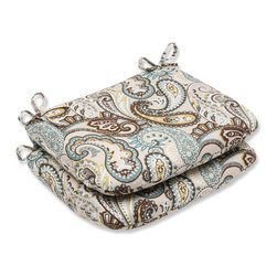 Pillow Perfect - Pillow Perfect 'Tamara Paisley Quartz' Rounded Corners Outdoor Seat Cushion (Set - Give your outdoor dining chairs a modern style upgrade with these whimsical Tamera Paisley Quartz seat cushions. Each rounded cushion in this set is UV and weather-resistant and comes with ties to secure it to your favorite chair.