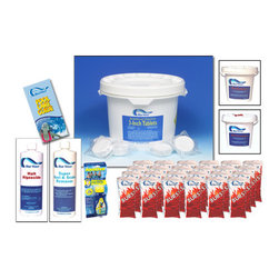 """Blue Wave - NY998 Blue Wave Chemical Season's Supply Kit - Large season's supply chemical kit trust your pool to premium Blue Wave; chemicals. These chemicals are specially formulated to keep your equipment in top condition, your liner clean and flexible, and your water crystal clear. We recommend only Blue Wave; for your pool. Kit contains: 50 lb. 3"""" tablets; 1 qt. Halt 50 algaecide; 1 qt. Super Rust and Scale; 24 x 1 lb. bags Chlor-Burst Shock; 5 lb. ph increaser; 6 lb. ph reducer; Aquatic chlorine 3-way test strips; free pool care guide."""