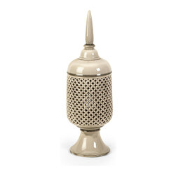 Imax - iMax Polard Medium Cutwork Canister with Lid X-58146 - The Polard medium cutwork canister is handcrafted which ensures uniqueness of each piece of ceramic art. A keen eye and steady hand are required to delicately remove each unwanted piece of clay to create this popular technique of hand cut ceramics.