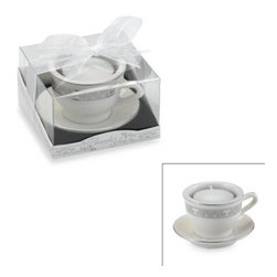 Kate Aspen - Kate Aspen Teacups and Tealights Miniature Porcelain Tealight Holder - An elegant favor for any bridal shower or wedding, this porcelain china pattern teacup sitting atop an attached saucer is the perfect tealight holder. The brilliant silver pattern gleams on porcelain.