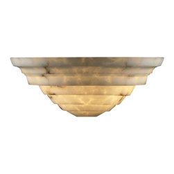 """Justice Design Group - Justice Design Group FAL-1555 Alabaster Stone / Glass Wall Washer Sconce from th - LumenAria Collection """"Supreme"""" Wall SconceFeatures the look of genuine carved alabaster without the costExtends: 8.25"""", 2.75"""" mounting centerUL listed for indoors (suitable for damp locations, also available for wet locations: FAL-1555W)Available with Optional Diffuser (FAL-1555DIF3)Lamping Options:Standard: 2 40w Max Torpedo Type B-13Bulbs Not Included"""