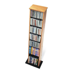 Prepac - Slim Multimedia Storage Tower - If your CD collection is getting out of hand, you'll love this media tower. The light color is complemented by a black base. Shelves are adjustable and designed to hold up to 160 of your favorite movie and music disks. Adjustable shelves holds variety of media sizes. Enlarged bases for extra stability. Capacity: 160 CDs, 65 DVDs, 120 Blu-Ray discs and 40 VHS cassettes. Warranty: Five years. Made from CARB-compliant, laminated composite woods with sturdy MDF backer. Oak and black finish. Made in North America. Minimal assembly required. 13 in. W x 8.75 in. D x 51 in. HMake the most out of a limited space with the Slim Multimedia Storage Tower. This tower�۪s neat and compact design means it�۪s perfectly suited to small rooms, while still providing storage for over 100 CDs. Adjust the shelves to any position you like as your collection grows and changes. With this unit, limited floor space doesn�۪t have to mean limited storage.