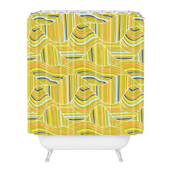 DENY Designs - Heather Dutton Dunes Shower Curtain - With a pattern inspired by endless dunes lit by the sun, this shower curtain transforms your bathroom into an oasis. Camel not included — let him find his own watering hole!