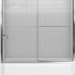 """Kohler - Kohler K-702200-L-SHP Polished Silver Fluence Fluence frameless bypass - Fluence 59-5/8""""W x 58-5/16""""H Frameless Bypass Bath Tub Door with Crystal Clear Glass and Towel BarsThe Fluence bypass bath door features a Eurostyle frameless design with Crystal Clear(TM) 1/4""""-thick tempered glass. Designed to accommodate out-of-plumb installations, this door features a continuous panel guide for smooth, quiet sliding action.58-5/16""""H x 56-5/8 - 59-5/8""""W1/4"""" frameless, thick Crystal Clear tempered glassCleanCoat(TM) glass coating repels water for easy cleanupContinuous door panel guide mechanism for smooth, quiet sliding actionStainless steel hardware prevents rusting or corrosionGently curved inside and outside towel barSmooth, easy-to-clean wall jambs"""