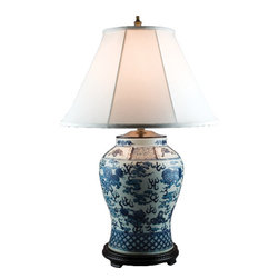 Oriental Danny - Blue and white lamp - Handsome blue and white lamp with Foo Dog designs. Foo Dog is a mythical object for cast the bad spirit and bringing good luck. This classic lamp beautifully illuminates any room. (100-Watts Max light bulb, 3-way switch, UL listed)