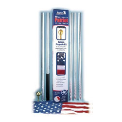 ANNIN & COMPANY - 742360 20 FT. AL W/FLAG FLAG POLE - DO-IT-YOURSELF FLAGPOLE KIT  Includes the following:  20 ft. maintenance-free aluminum pole  Nyl-Glo ColorFast US flag  Gold anodized aluminum ball  Heavy duty cast aluminum track  Braided polypropylene halyard  Cast aluminum cleat  Nylon straps    742360 20 FT. AL W/FLAG FLAG POLE