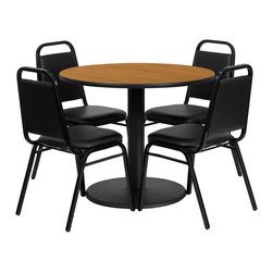 Flash Furniture - Flash Furniture Restaurant Furniture Table and Chairs X-GG-3001BRSR - 36'' Round Natural Laminate Table Set with 4 Black Trapezoidal Back Banquet Chairs [RSRB1003-GG]