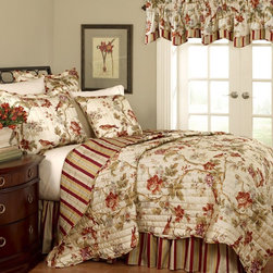 Waverly - Charleston Chirp Quilt Set Multicolor - 11396TWINPPY - Shop for Quilts from Hayneedle.com! The Charleston Chirp Quilt Set blends classic styling and clean contemporary fashion for a luxurious look in your master suite. It features rose branches tulips and dianthus with perfectly placed wrens in a wash of gentle papaya sage green orange rust eggshell blue and lavender on a soft vanilla background. The all-over nature print is enhanced by vertical-stitched quilting and finished with a coordinating self-piping decorative trim. A handsome stripe in the same colors graces the reverse of this versatile quilt allowing you to change your look in seconds. Coordinating reversible quilted shams with three scalloped flanges stripe accent and a vertical stripe bed skirt are included in the quilt set. Comforter Set Components:Twin: 1 comforter 1 bed skirt 1 shamFull/Queen: 1 comforter 1 bed skirt 2 shamsKing: 1 comforter 1 bed skirt 2 king shamsComforter Cover Dimensions:Twin: 86L x 68W inchesFull/Queen: 90L x 88W inchesKing: 90L x 104W inchesAbout Ellery HomestylesOffering curtains bedding throws and specialty products Ellery Homestyles is a leading supplier of branded and private-label home-fashion products. Their products deliver innovation in fashion function and design and include names like Eclipse Curtainfresh SoundAsleep ComfortTech Vue and Waverly. Their 357 000 square foot facility in Lumber Bridge North Carolina includes a high-speed pillow filling operation with a capacity of approximately 40 000 pillows a week.