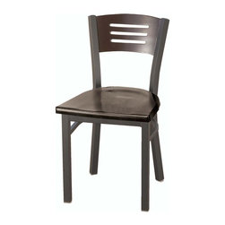 KFI Seating - Square Metal Framed Cafe Chair w Wooden Seat - Finish: WalnutSet of 2 metal cafe chair. Chair has a 18mm gauge. 1.25 in. Steel frame in black powder-coat. Shown in Mahogany. Seat and back are solid wood with a mahogany, walnut or natural stain. 17.5 in. W x 19 in. D x 31.5 in. H