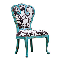"""Chahna Accent Chair - A certain joie de vivre suffuses the Chahna Accent Chair, what with its cheery aqua blue finish and beguiling bovine-inspired fabric. The solid frame is fashioned from plantation grown mango wood; the cushioned seat boasts a plush velvet wonderfully soft to the touch. Seat height is 19""""."""