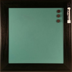 """Top of the World Innovations LLC/Retro Color Boards - Retro Color Boards-Custom Color Magnetic Dry Erase Board, Retro Blue, 14x14 - Retro Color Boards are custom color magnetic dry erase boards with patent pending ghostbuster technology for easy cleaning with water, window or dry erase cleaner and the elimination of unsightly ghost images when used with liquid chalk or dry erase markers. Boards are magnetic 24 gauge steel and come in 5 colors (Brilliant Red, Retro Blue, Matte Black, Metallic Silver and Metallic Copper) and 4 sizes (8""""x8"""", 14""""x14"""", 10""""x30"""" and 20""""x24""""). Each board is framed with a black finished 2-inch hardwood frame and comes with saw tooth hanger, three 3/4"""" round magnets and one chisel tip black dry erase marker (excluding the matte black board). The main benefits of the Retro Color Board over other dry erase boards are optionality, elegance and durability. Our colors have been selected with your designs in mind and our frame selected to provide an elegant functional décor piece for the home, office or business. Durable hardwood construction with three v-nails in each corner and matte board backing provide exceptionally study construction designed to last."""