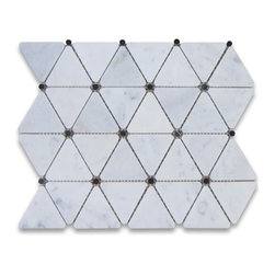 Stone Center Corp - Carrara Marble Triangle Mosaic Tile Black Dots 2 3/4 inch Polish - Premium Grade Triangle White Carrara Marble Mosaic tiles. Italian Bianco Carrera White Venato Carrara Polished 2 3/4 inch Triangle Mosaic w/ Black Round Dots Wall & Floor Tiles are perfect for any interior/exterior projects. The Carrara White Marble Triangle Mosaic tiles with Black Dots can be used for a kitchen backsplash, bathroom flooring, shower surround, countertop, dining room, entryway, corridor, balcony, spa, pool, fountain, etc.