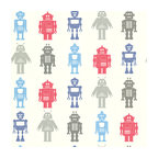Brewster - Robot League Multicolor Robots Wallpaper - Take us to your leader! These rockin' robots bring a sci-fi vibe to your little one's room. He'll love the look, and you'll love how the paper is pre-pasted for easy application and tough enough to take a scrubbing.