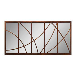 "Uttermost - Loudon Large Bronze Mirror - ""You use a glass mirror to see your face; you use works of art to see your soul"" —George Bernard Shaw. A decorative frame with a deliberate crack-like quality adds intrigue to this large wall mirror. The abstract design, with gold undertones, is an unusual work of art which adds depth and texture to this looking glass."