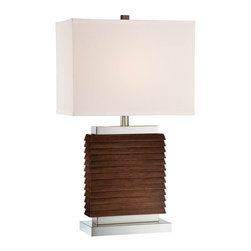 Lite Source - Lite Source Pernell Modern / Contemporary Table Lamp XSL-07122 - From the Pernell Collection, this Lite Source table lamp features a rectangular fabric diffuser in a soft, stylish off-white hue. The Dark Walnut Wood and Polished Steel finishes of the body compliment the clean, modern styling of this contemporary table lamp.