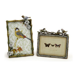 iMax - Nida Bird Frames, Set of 2 - feather your fancy when displaying your favorite photos in these wonderful jewel tones photo frames adorned with birds and flowers, hold 3x5 and 4x6.