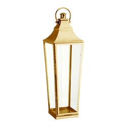 High Street Brass Candle Lantern - A great outdoor centerpiece, the High Street Brass Candle Lantern features an easy-access door and a loop for hanging.