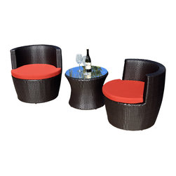 Harmonia Living - Pineapple 3 Piece Stacking Patio Chat Set, Henna Cushions - Use this three-piece set to create your very own outdoor chat room. Each piece is made of high-density, polyethylene wicker that weathers the elements beautifully, so you can enjoy the great outdoors year-round. But, they also stack away neatly when not in use.