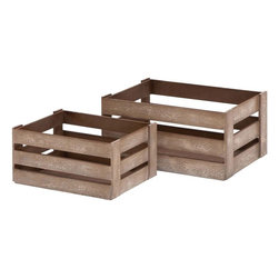 Benzara - Wood Crate Glazed with Brown Color - Set of 2 - If you want to get rid of the clutter in your bedroom in a stylish way then these wood crates are an apt solution. You can fill these crates with reading materials and petty essentials, and store them under your bed. They can also be used as footstools or you can even use these for shelving as well. When not in use, these wooden crates can be locked together for efficient storage. The wooden crates are best for transporting bulk items too. While the wooden crates are quite functional to store miscellaneous items, you can also use them to complement your furnishing. The crates are glazed with brown color and have a freckled appearance. The crates are made with utter precision and display a neat design. These have a sturdy wooden construction and a functional design.