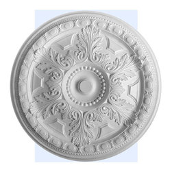 "Inviting Home - Stockton Ceiling Medallion - large ceiling medallion diameter - 28-1/8"" decorative medallion Stockton ceiling medallion have traditional design with acanthus leaf and egg-and-dart trim. This decorative medallion for ceiling is classic reproduction of historical design. Stockton medallion molded in deep relief design to achieve the highest degree of quality and details. This decorative medallion giving you look and feel of plaster while it is much easier to install than plaster or gypsum due to the weight dimensional stability precise tolerances and flexibility. - ceiling medallion manufactured from high density furniture grade polyurethane. - decorative medallion is water and heat resistant impervious to insect infestation and odor free. - center hole on the ceiling medallion is easily drilled or cut with a pen-knife to any dimension. - for installation of the ceiling medallion use specially formulated ceiling adhesive."