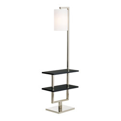 """Lamps Plus - Contemporary Double Shelf Space Saver Floor Lamp - This wonderful design offers you display shelving and lighting in one neat package. Two ebony wood finish shelves give you space for magazines collectibles and more. A cylinder fabric shade and brushed steel finish on the base completes this contemporary package. On/off switch located on the column. Brushed steel finish base. Off-white fabric uno shade. Ebony wood finish. Takes one 100 watt bulb (not included). 60"""" high. Shelves are 20"""" wide 10"""" deep. Base is 13"""" wide 12"""" deep. Shade is 8"""" wide 12"""" high.  Brushed steel finish base.   Off-white fabric uno shade.  Ebony wood finish.  Use as an end table or office accent.  Takes one 100 watt bulb (not included).  60"""" high.  Shelves are 20"""" wide 10"""" deep.  Base is 13"""" wide 12"""" deep.  Shade is 8"""" wide 12"""" high.  Top shelf sits 23 1/2"""" from floor."""