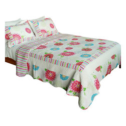 Blancho Bedding - [Pink Fairy Tale] 100% Cotton 3PC Patchwork Quilt Set (Full/Queen Size) - The [Pink Fairy Tale] Quilt Set (Full/Queen Size) includes a quilt and two quilted shams. Shell and fill are 100% cotton. For convenience, all bedding components are machine washable on cold in the gentle cycle and can be dried on low heat and will last you years. Intricate vermicelli quilting provides a rich surface texture. This vermicelli-quilted quilt set will refresh your bedroom decor instantly, create a cozy and inviting atmosphere and is sure to transform the look of your bedroom or guest room. Dimensions: Full/Queen quilt: 90 inches x 98 inches; Standard sham: 20 inches x 26 inches.