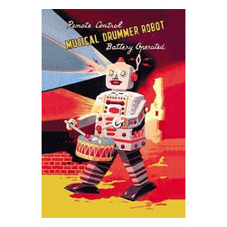 """Buyenlarge.com, Inc. - Musical Drummer Robot - Paper Poster 12"""" x 18"""" - The 1950's was a time of wonder and the universe was the focus of many young imaginations. Hollywood adopted science fiction and the toy industry followed closely. The Japanese manufactured toy robots for the children of America and designed great boxes to hold these vintage tin toys. This illustration art comes directly from these boxes."""