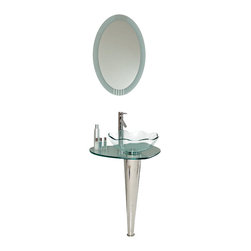 Fresca - Fresca Netto Modern Glass Bathroom Vanity w/Wavy Edge Vessel Sink - Reflect the beauty of gentle waves in your washroom by installing the gorgeous glass basin with a scalloped edge that stands as the centerpiece of this vanity. You'll delight in the gleaming chrome that makes up the sleek stand, and in the elegance of the oval mirror.