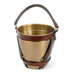 Go Home Ltd - Go Home Ltd Leather Handle Champagne Bucket X-41161 - Go Home Ltd Leather Handle Champagne Bucket X-41161